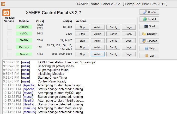 XAMPP Control Panel - Manage/Configure Apache, MySQL