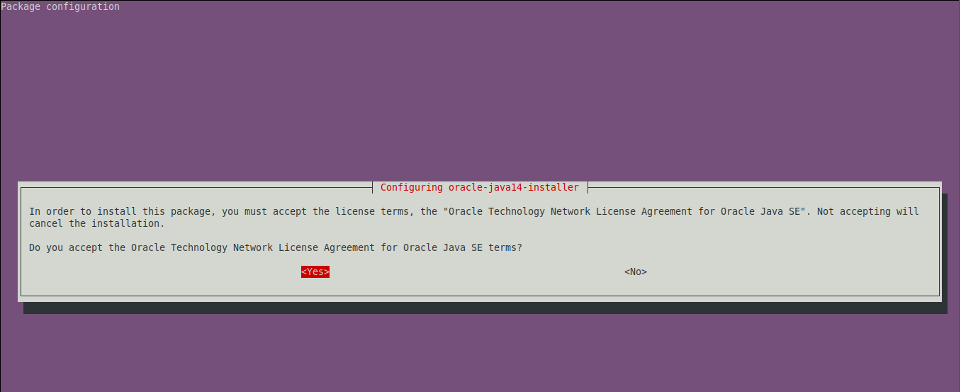 Accept the the license terms to install Java