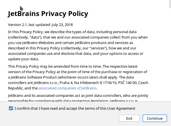 Jetbrains terms of license