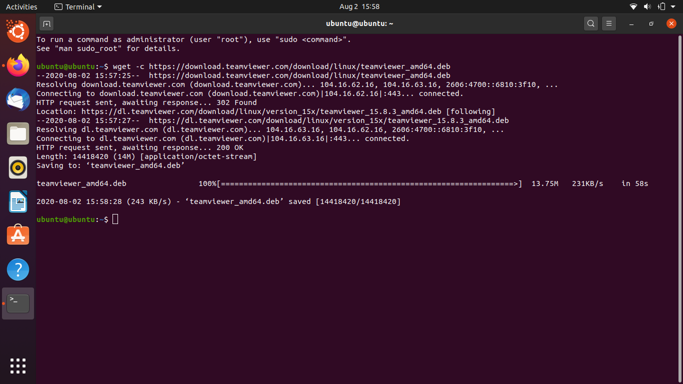 Using wget to download TeamViewer